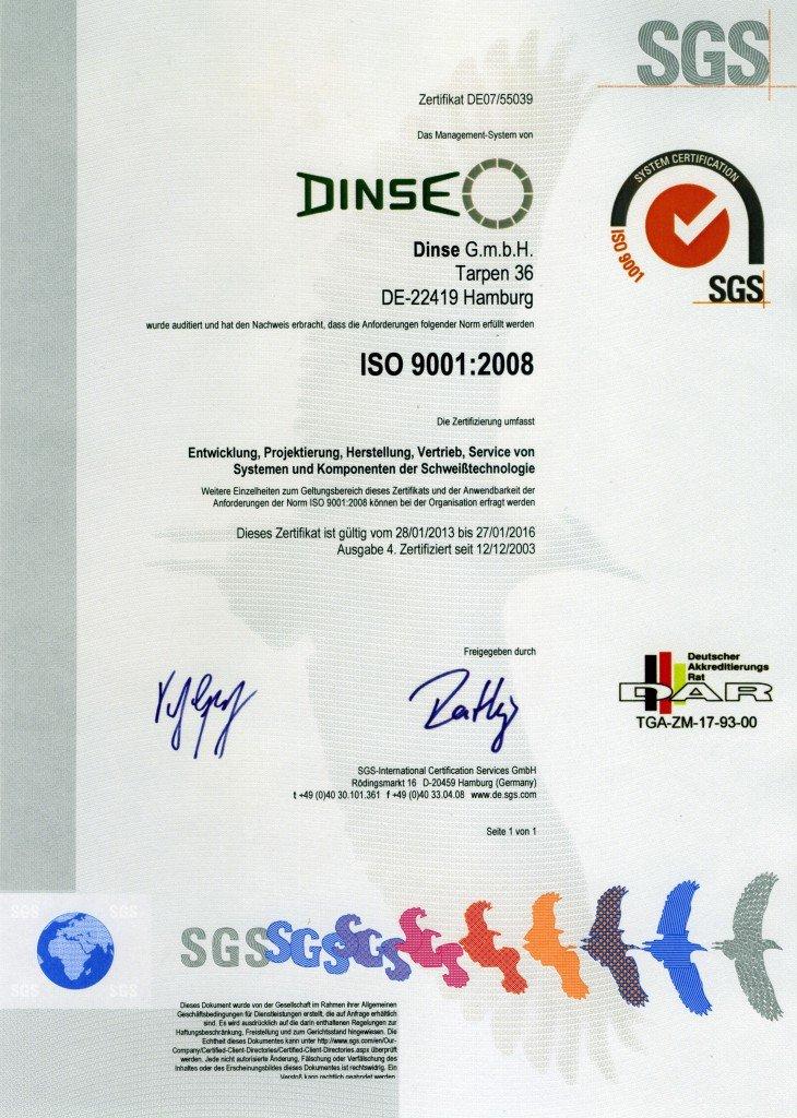 DIN EN ISO 9001:2008 - dinse-us.com